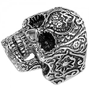 Sirius Stainless Steel Punk Vintage Jewelry Flaming Expendables Vampire Gothic Skull Ring Silver Size 10
