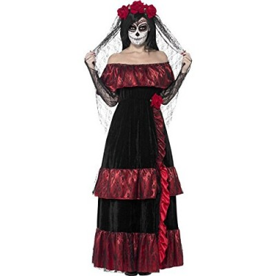 Smiffys Women's Day of the Dead Bride Costume, Dress and Rose Veil, Day of the Dead, Halloween, Size 6-8, 43739