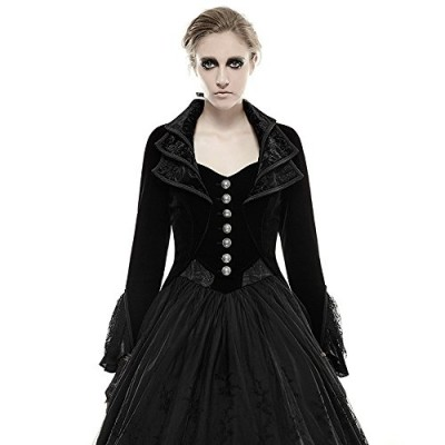 Elegant Spring Fancy Black Woman Gothic Lace Long Dress Coat (M)