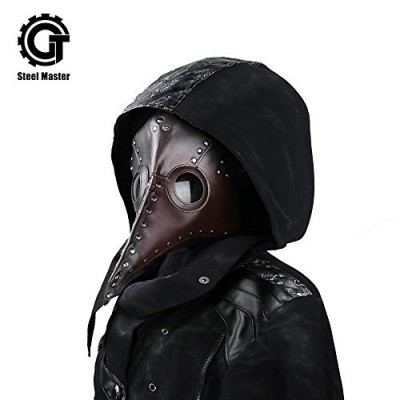 Steampunk Plague Beak Mask Gothic Cosplay Retro Doctor Bird Mask (Brown)