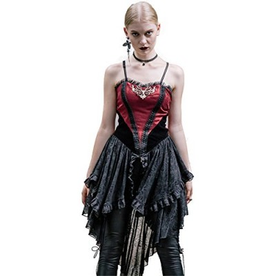 Steel master Gothic Spaghetti Strap Party Dresses Steampunk Evening Dress (XXL)
