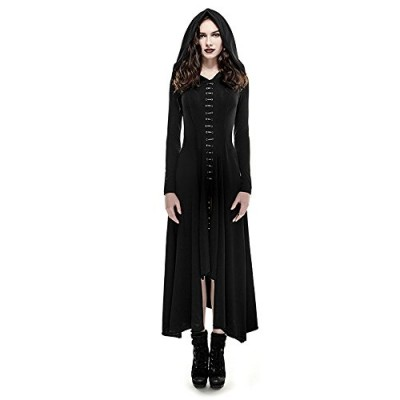STEELMASTER Punk Gothic Knitted Slim Long Sleeves Hooded Evening Dresses (S)