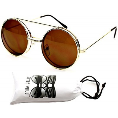 5c8f4200d8 V137-vp Flip up Round Metal Sunglasses (Sdd Gold-brown)