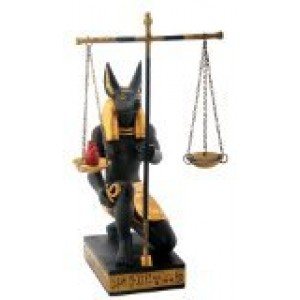 SUMMIT COLLECTION Black and Gold Anubis Scales of Justice Egyptian Statuette