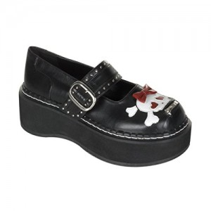 2 Inch Trendy Gothic Shoes Platform Black Pu Mary Jane Shoe With Bow And Skull Size: 6