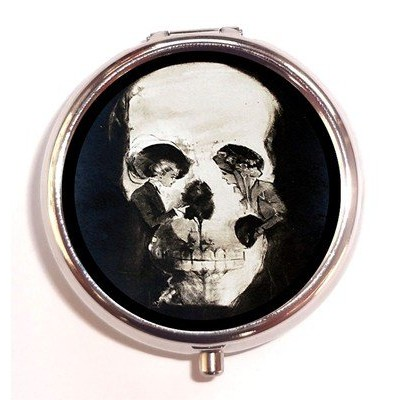 Victorian Goth Skull Illusion Two Women Flower Gothic Pill Box Case Pillbox