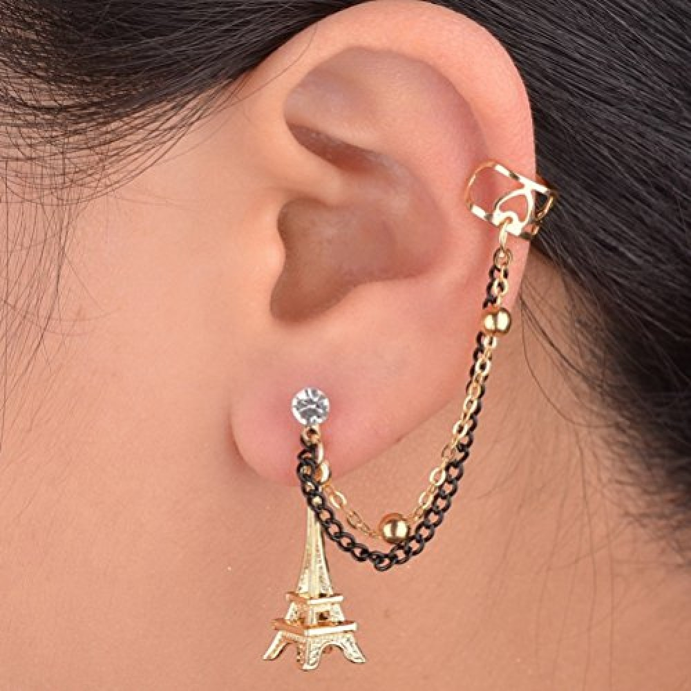 One Piece Gothic Crystal Clip Punk Right Ear Chain Cuff Tassel Stud
