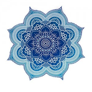 The Boho Street - 100% Cotton Large Round Lotus Flower Mandala Light Weight Tapestry (1, Blue)