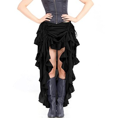 Steampunk Victorian Gothic Womens Costume Show Girl Skirt (Black) (X-Large)
