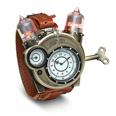 ThinkGeek Steampunk-Styled Tesla Analog Watch Weathered-Brass Look on Metal Findings Plus Leather Strap