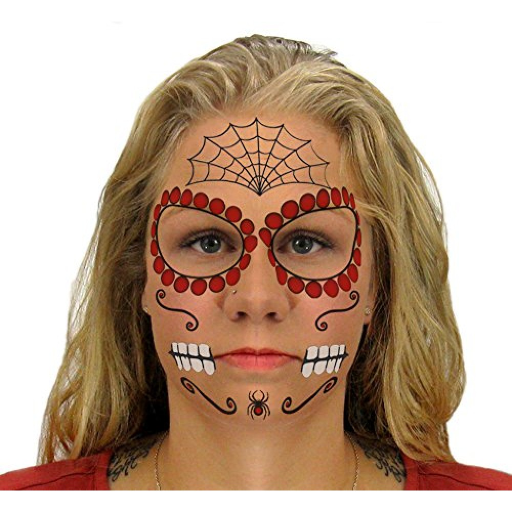 9f8031ee0 ... Ruby Sugar Skull Day of the Dead Temporary Face Tattoo Kit for Men or  Women ...