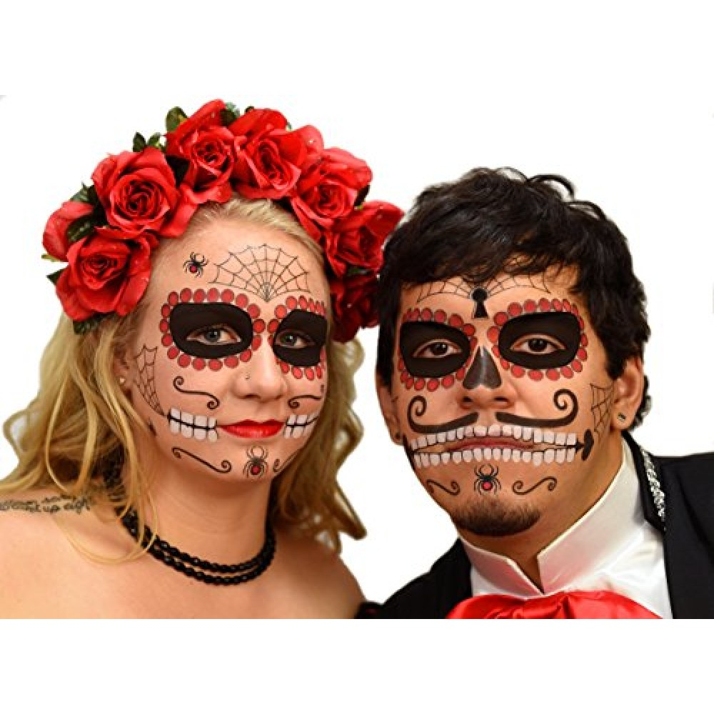9ae650ef4 Ruby Sugar Skull Day of the Dead Temporary Face Tattoo Kit for Men or Women  ...