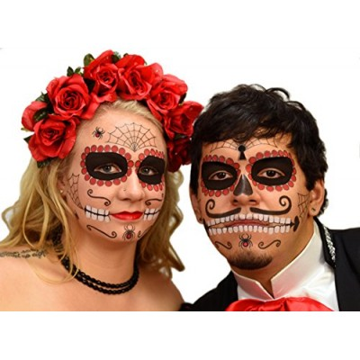 Ruby Sugar Skull Day of the Dead Temporary Face Tattoo Kit for Men or Women - 2 Complete Kits