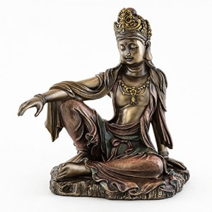 """Top Collection H 7.25"""" W 6.5"""" Water & Moon Quan Yin in Royal Ease Pose Statue in Cold Cast Bronze - Goddess of Mercy Buddha Statue"""