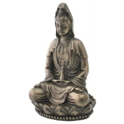 """Top Collection Small 3"""" H Guan Yin Decorative Figurine. Resin with Hand-Painted Bronze Finish. East Asian Deity Goddess of Compassion and Mercy. Me..."""