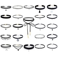 Tpocean 23 PCS Handmade Classic Elastic Lace Tattoo Choker Necklace Set Adjustable Black Gothic Velvet Collars for Women
