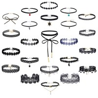Tpocean 23Pcs Vintage Gothic Lace Tattoo Punk Velvet Choker Necklaces