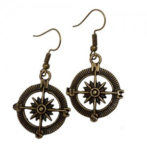 umbrellalaboratory Steampunk Nautical Pirate compass earrings pendant charm by