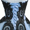 Black Lace Long Tulle A Line Prom Dresses Evening Party Corset Gothic Wedding Gowns Sky Blue US 22W