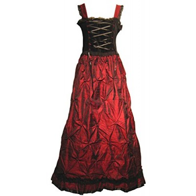 Victorian Valentine Women's Square-Neck Graphic Sleeveless Long Gown Dress, Red Black, Small