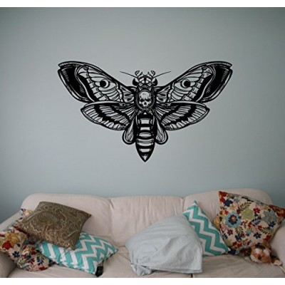 Butterfly Skull Wall Decal Vinyl Sticker Gothic Home Interior Living Room Decor Door Stickers Om Housewares Bedroom Design Anti Stress Decor 3(btf)