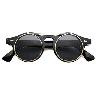 Flip up Cyber Steampunk Round Circle Retro Sunglasses (Black/Gold Rimmed, 43)
