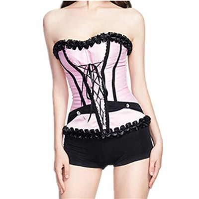Wiipu Vintage Lace Corset Strapless Wedding Dress Bustiers(L06)- XXLarge Pink