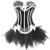 Wiipu Women's Burlesque Stripe Corset Fancy Dress Set(J754) XXLarge White