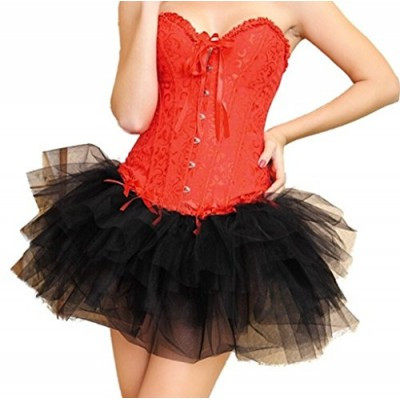 Wiipu women's Lace up Boned Corset Bustier Fancy Dress(J732)- XXLarge Red