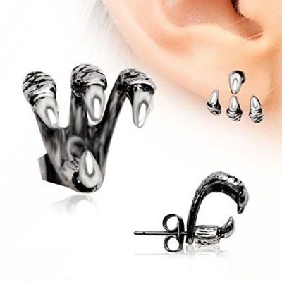 """Trident Triple"" Claw Earring 316L Stainless Steel (Sold Individually)"