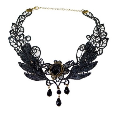 Yazilind Black Rose Flower Lace Gothic Lolita Beads Pendant Choker Necklace 12.87in