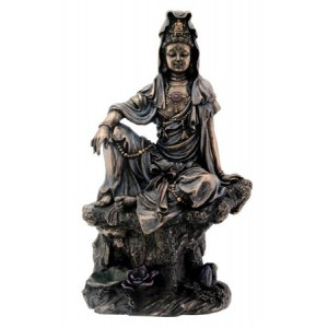 7 Inch Bronze Water and Moon Kuan Yin Buddhism Statue Figurine