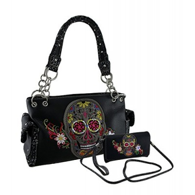 Vinyl Purse Wallet Kits Embroidered Floral Sugar Skull Concealed Carry Purse/Wallet Set Black 13 X 7 X 4.5 Inches Black